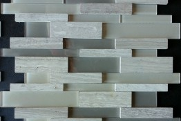 3D Wooden Light Grey + Glass Strip